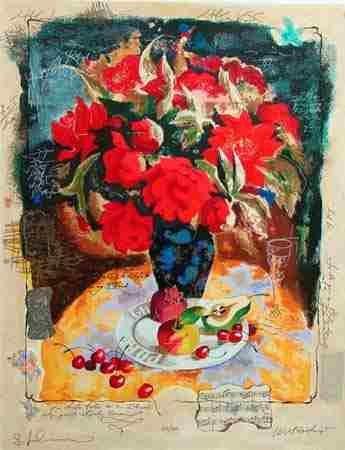 103: Alexander Wissotsky, Red Bouquet II Serigraph