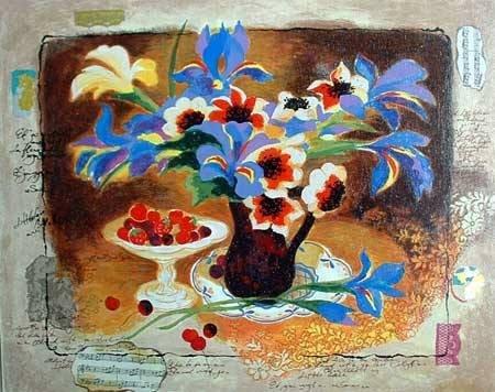 "304: Alexander Wissotsky, Blue Irises, Serigraph"""