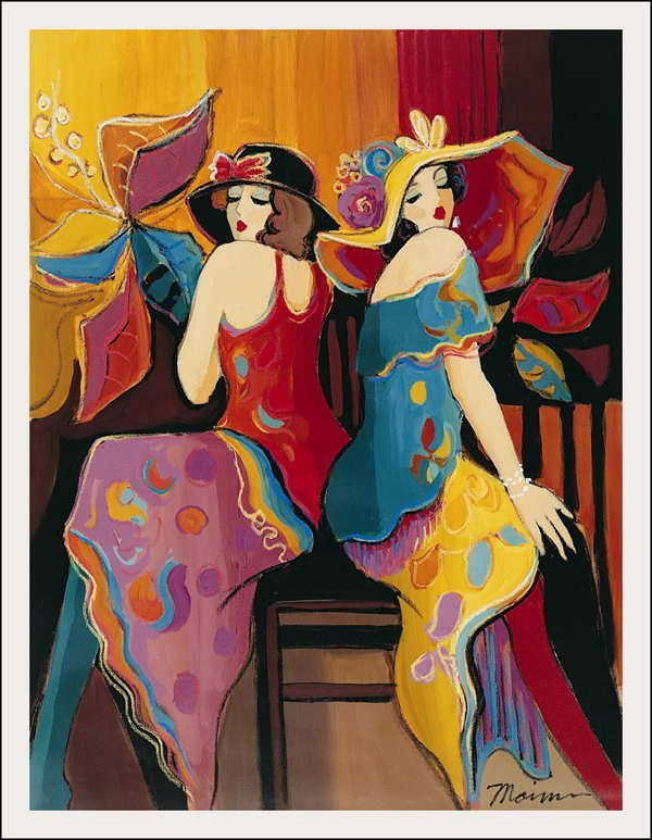 """390: Isaac Maimon, Sisters, Serigraph on Canvas"""""""