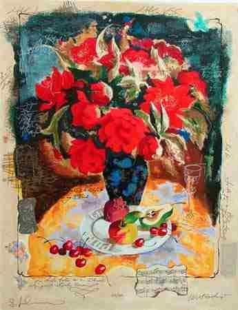 508: Alexander Wissotsky, Red Bouquet II, Serigraph