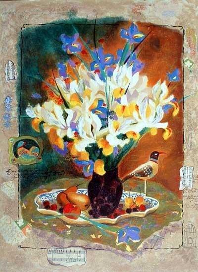 516: Alexander Wissotsky, Iris Bouquet III, Serigraph o