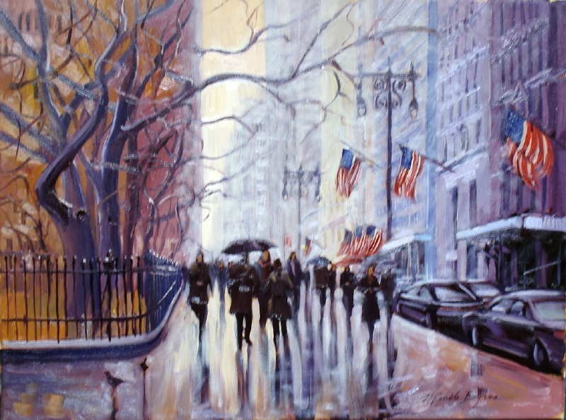 Michele Byrne, Walking by City Hall Park, Oil on Canvas