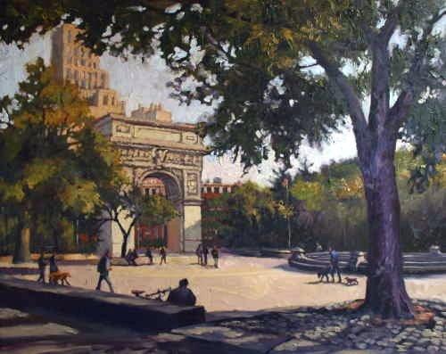 Michele Byrne, Washington Square, Oil on Canvas