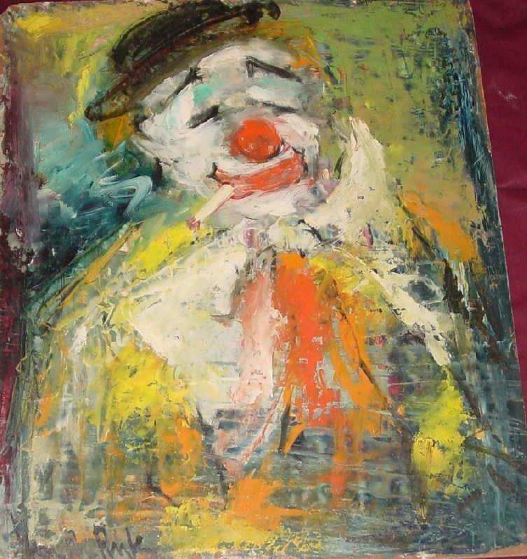 Jan De Ruth, Clown, Signed Oil on Board