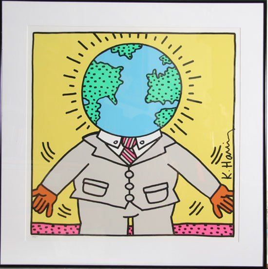 Keith Haring, Global Man, Signed Serigraph