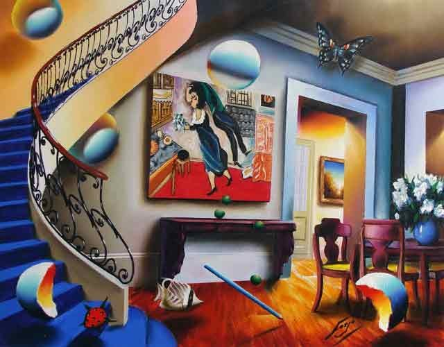 Ferjo, Dining with Chagall, Signed Canvas Giclee