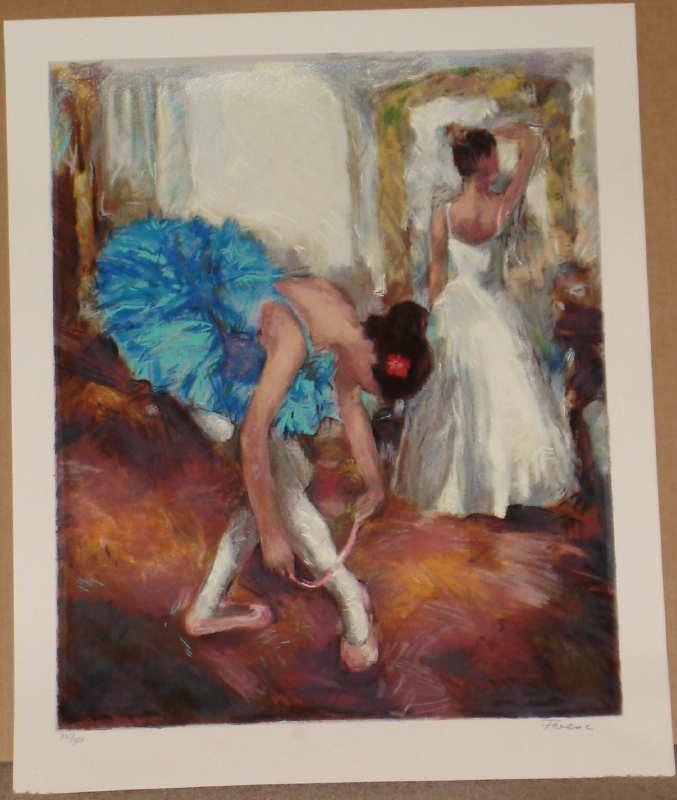 Hedva Ferenci, Blue Dancer, Signed Serigraph