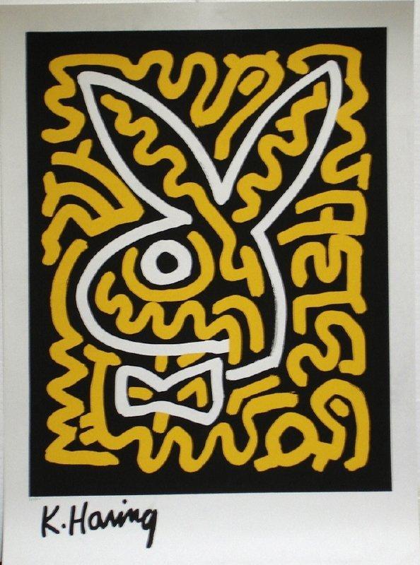 Keith Haring, Black & Yellow Bunny, Serigraph