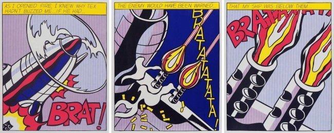 Roy Lichtenstein, As I Opened Fire, Rare Triptych