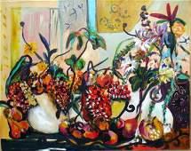 Bracha Guy, Still Life W/Pears, Signed Oil on Canvas