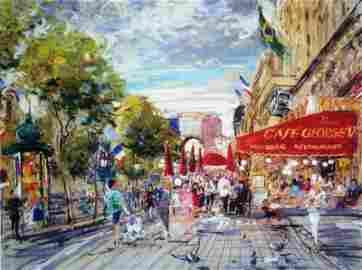 Kamil Kubik, Champs Elysee, Signed Canvas Print