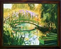 Michele Byrne, Monet's Bridge, Framed Canvas Print