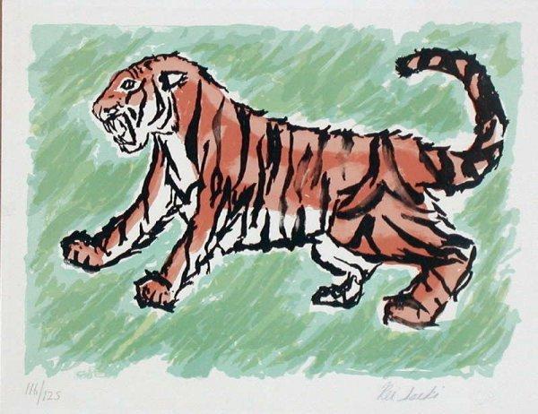 118: Rei Saeki, Tiger, Stone Lithograph
