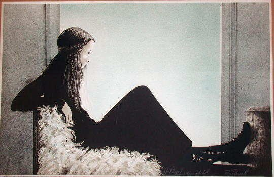 121: Roy Purcell, Girl on a Bench, Stone Litho