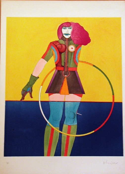 302: Richard Lindner, Girl with Hoop, Stone Lithograph