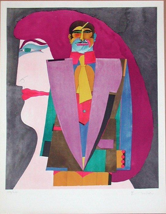 311: Richard Lindner, Portrait No. 1, Stone Lithograph