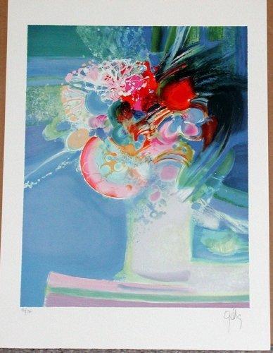 318: Daniel Gelis, Bouquet Frais, Signed Litho