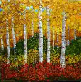 Wanda Kippenbrock, Falls Gold, Oil on Canvas