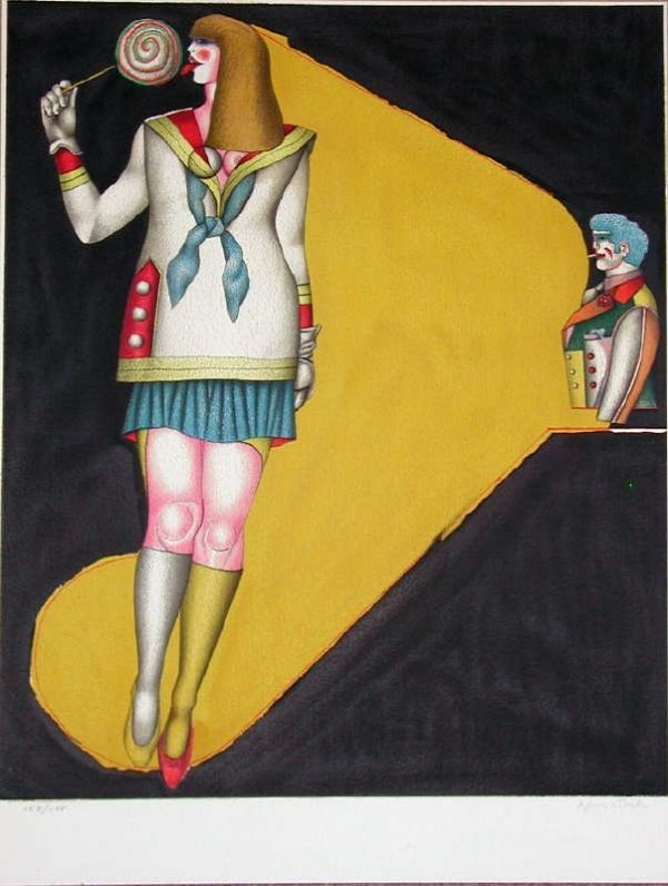 517: Richard Lindner, Lollipop, Stone Lithograph