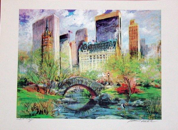 502: Kamil Kubik, Central Park Spring, Signed Serigraph