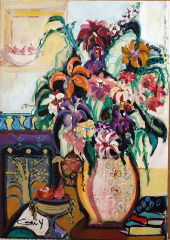 437: Bracha Guy, Bouquet, Signed Oil on Canvas