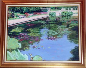 Paul Kentz, Brooklyn Botanical Gardens, Oil On Board