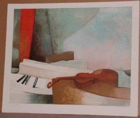 Claude Gaveau, Piano, Signed Lithograph