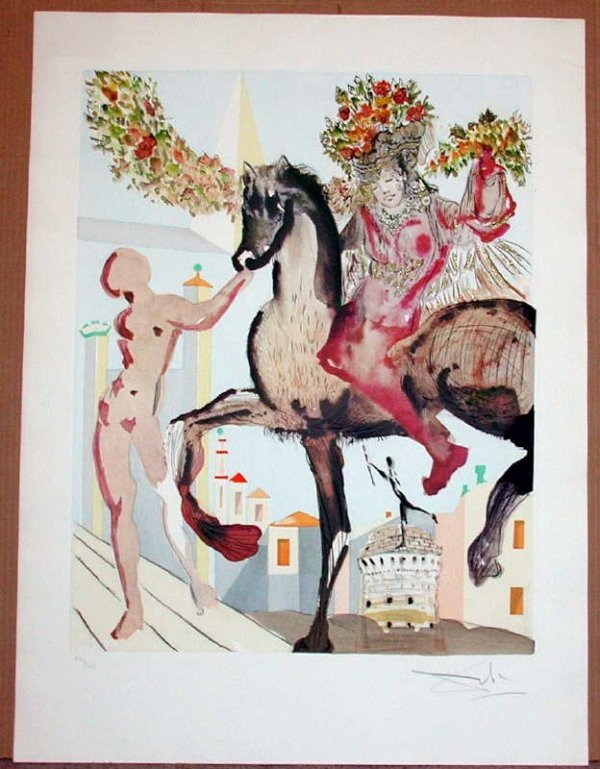5: Salvador Dali, Cavalier Fleuri, Rare Signed Print
