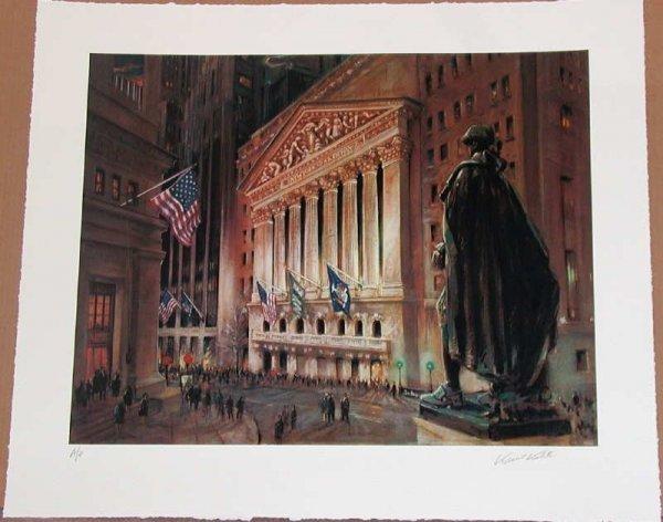 14: Kamil Kubik, Wall Street at Night, Signed Serigraph