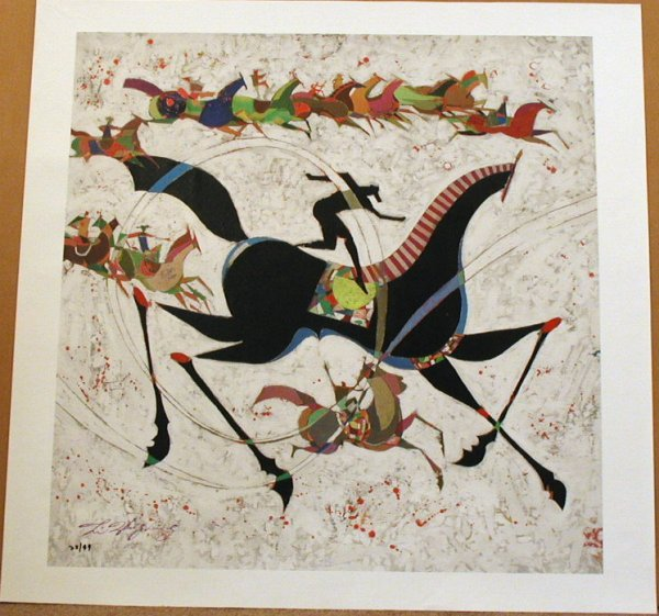 71: Li Zhong-Liang, Classic Horse, Signed Canvas Giclee