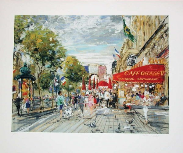 508: Kamil Kubik, Champs Elysee, Signed  Canvas Giclee