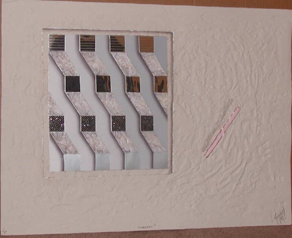 456: Luis Mazorra, Object,Signed  Etching with Collage