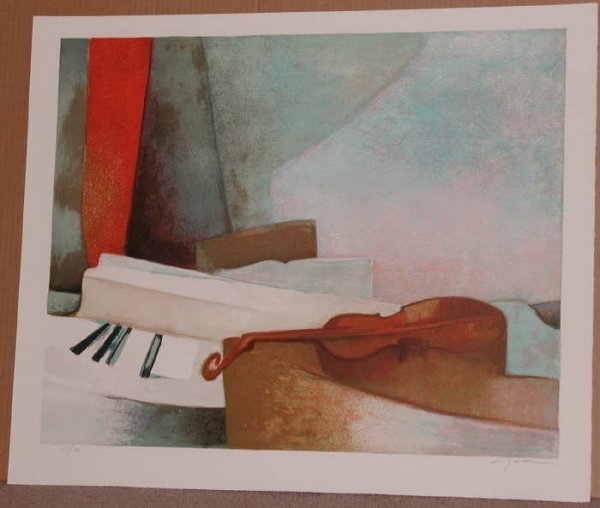 526: Claude Gaveau, Piano, Signed Lithograph