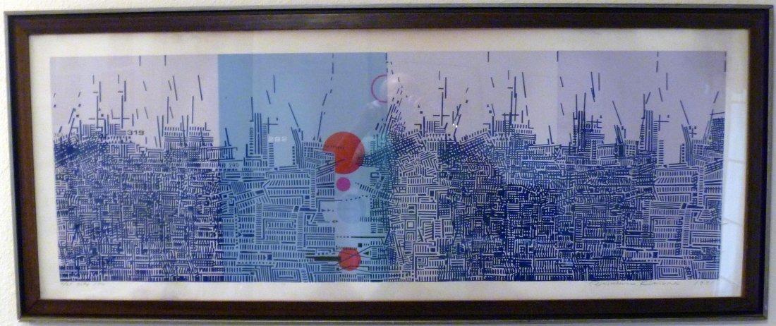 Risaburo Kimura, City 194, Signed and Framed Serigraph