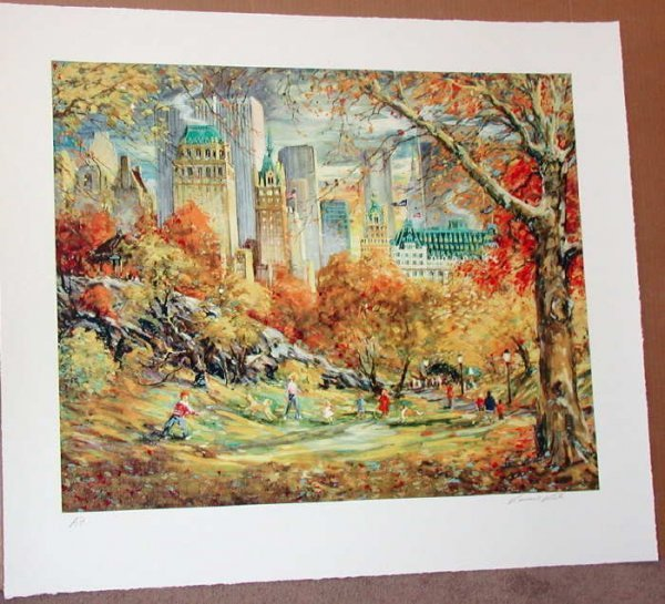 1120: Kamil Kubik, Central Park Fall, Signed Serigraph