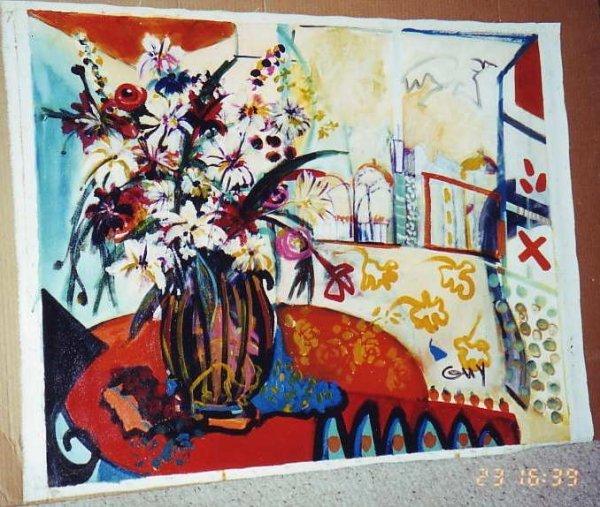 122: Bracha Guy, Terrace Table, Signed Oil on Canvas