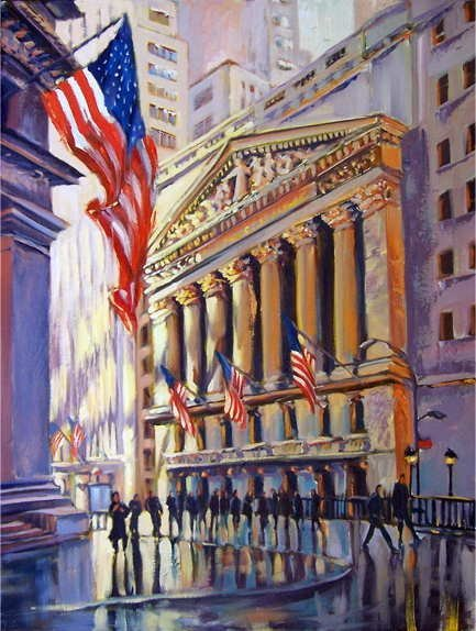 753A: Michele Byrne, Wall Street Morning, Oil on Canvas