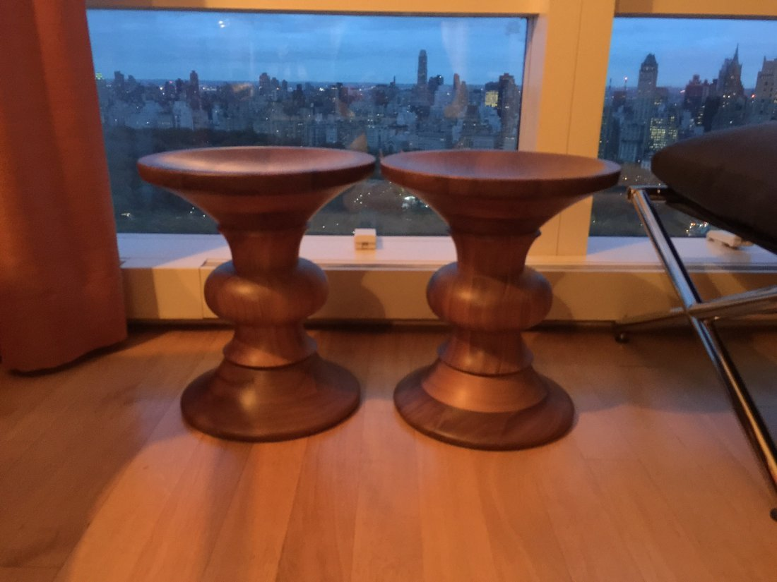 Pair of Eames Walnut Stools - 2