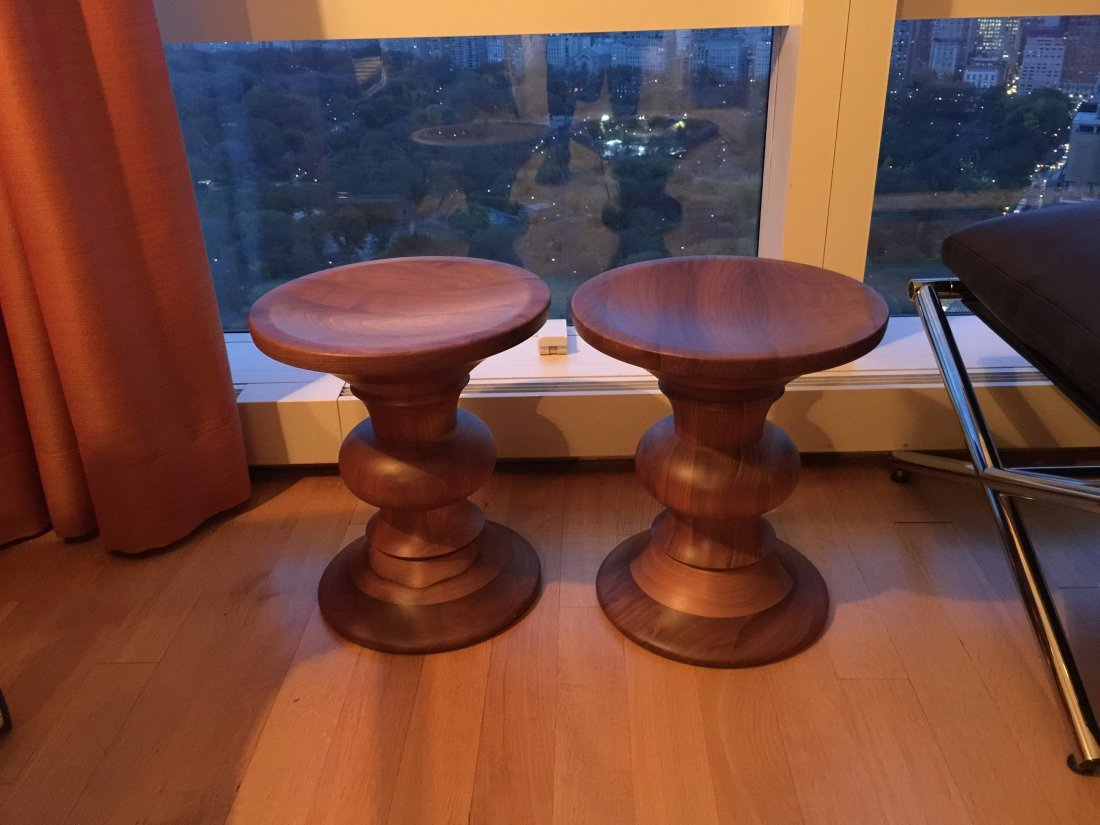 Pair of Eames Walnut Stools - 3