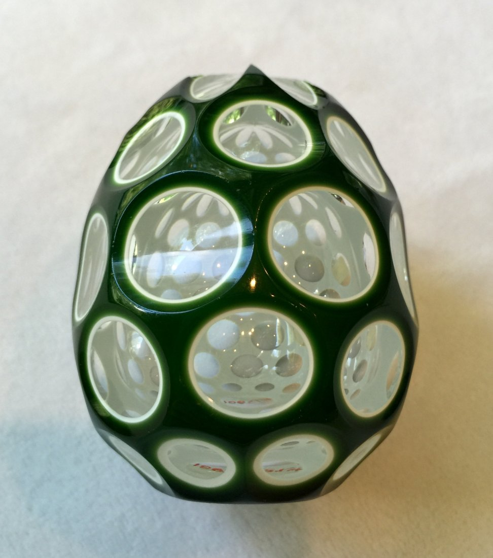 French Overlay Cut Glass Paperweight