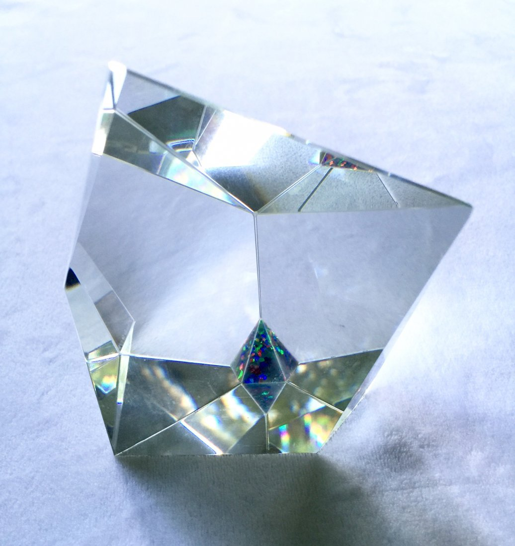Josef Tomecko Faceted Glass Prism Sculpture