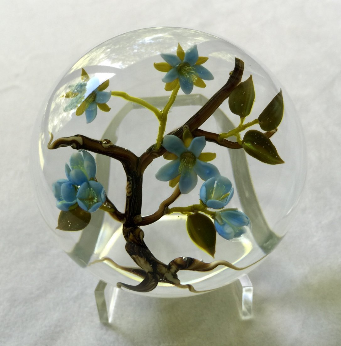 Jim Donofrio Glass Floral Paperweight