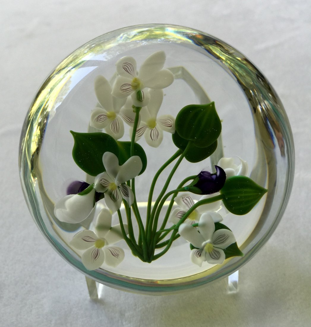 Paul Stankard Glass Botanical Spring Beauty Paperweight