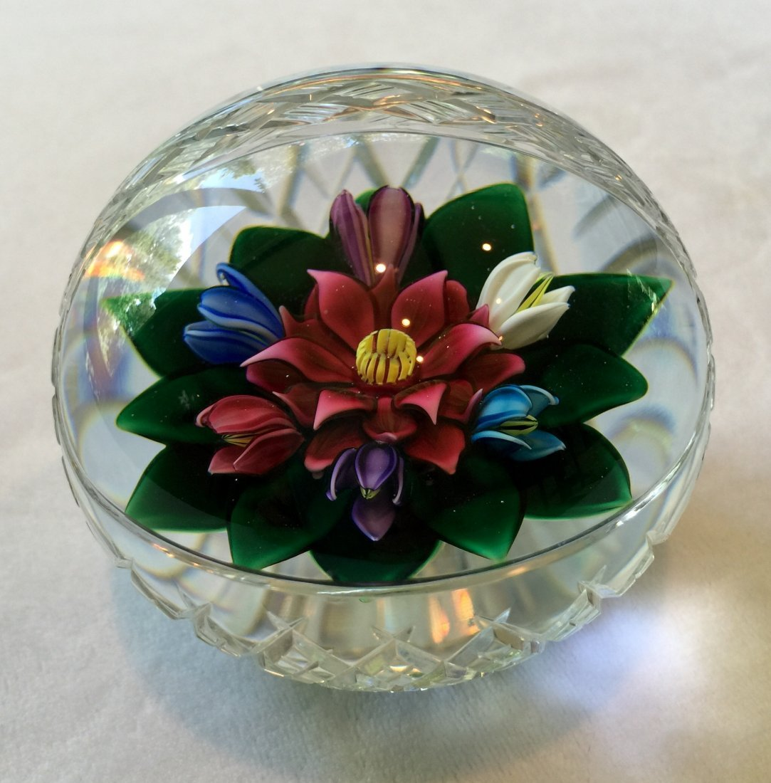 Bob Banford Faceted Glass Flower Basket Paperweight