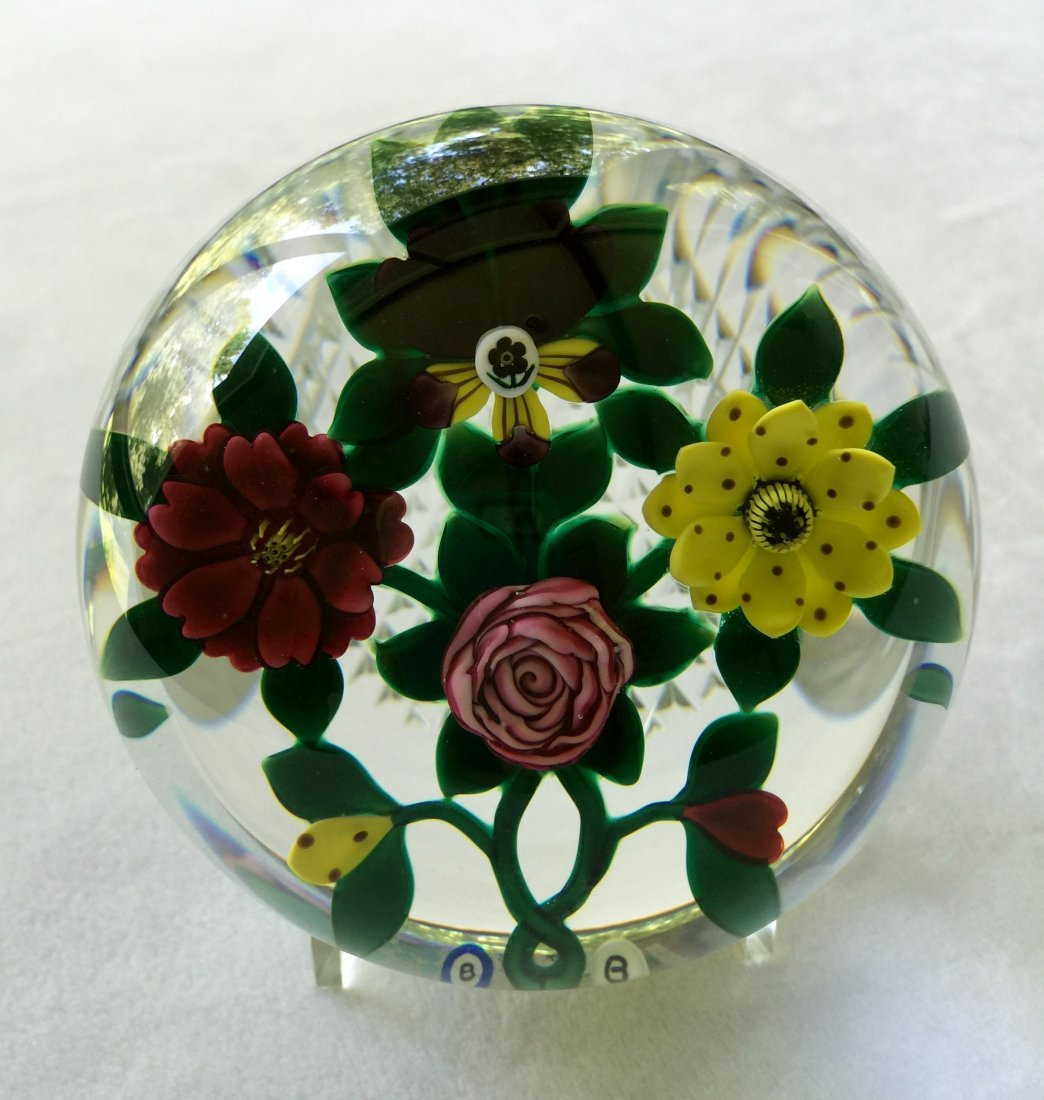 Ray and Bob Banford Faceted Glass Botanical Paperweight