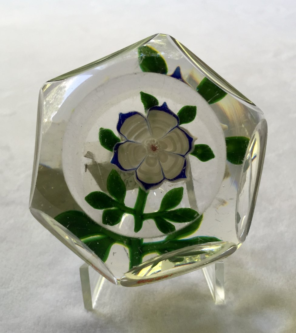 Baccarat Faceted Glass Dogrose Paperweight