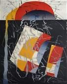 Misch Kohn Textured Mixed Medium Lithograph
