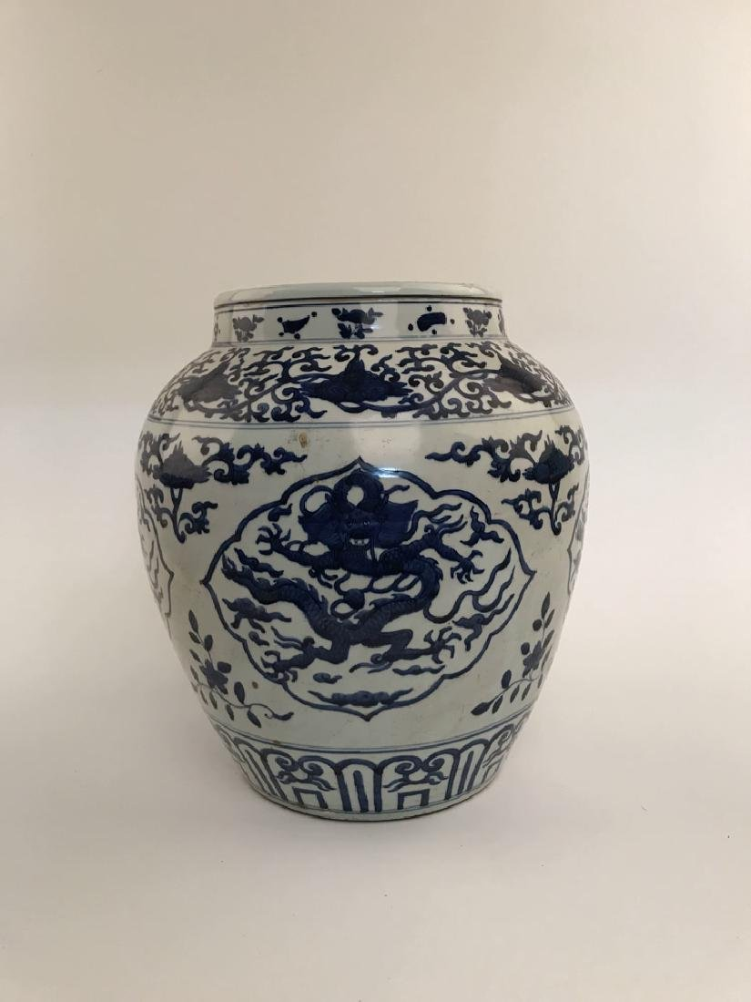 Fine Blue and White Dragon Jar