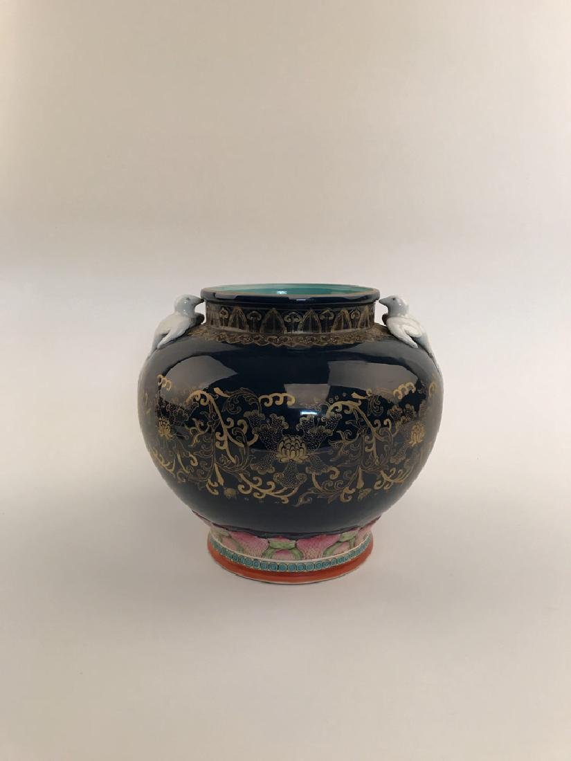 Fine Famille Rose and Gilt Jar with QIanlong Mark