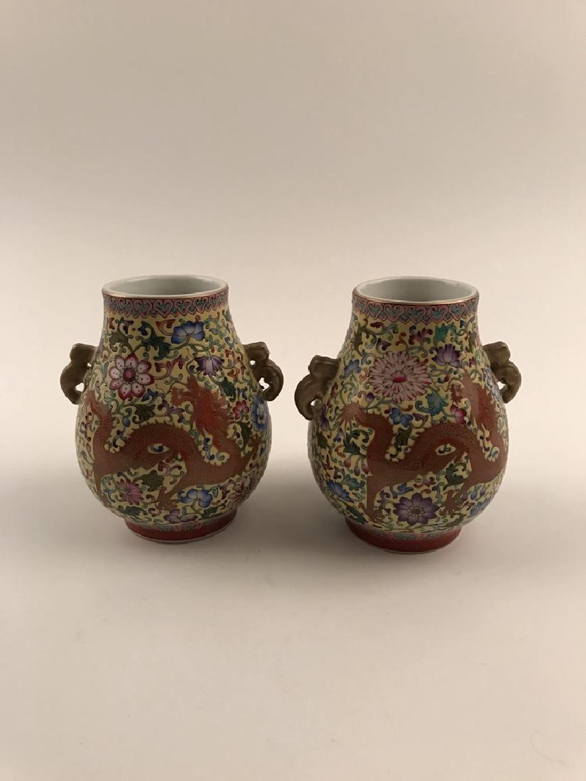 Pair Famille Rose Dragon Vase with Yongzheng Mark